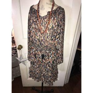 Feather-printed knee-length boho dress